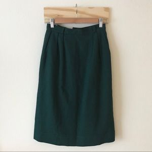 Patty Woodard Vintage High Waisted Dk. Green Skirt